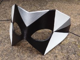 Geometric leather mask - Black, White and Silver by Masktastic