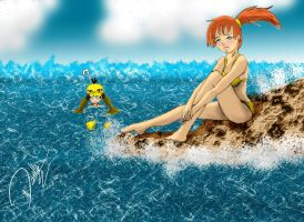 misty and psyduck in the sea by Honsmaster