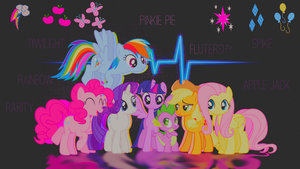 Wallpaper mane 6 and Spike by candi13