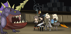 Tiz, Agnes, Edea and Ringabel VS Behemoth by Windaura
