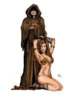 Jedi's Slave Leia colored by jonrosscomics