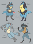 Lucario Variants by LinksEyebrows