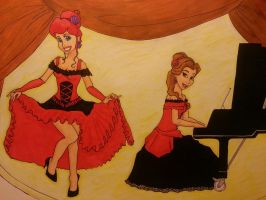 Request ~ Ariel and Beauty in CanCan dress by FunkyyMonkey