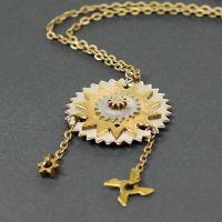 Steampunk Jewelry- Brass and Silver Gear Necklace by Tanith-Rohe