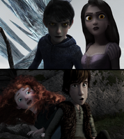 Jack and Punzie Black vs Merida and Hiccup by wendymeg