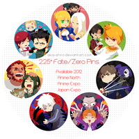 2012 Fate/Zero Pins by Aka-Shiro