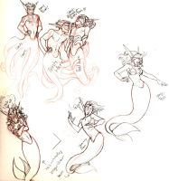Mermaid Sketches by Luna-Kitsune-Blu