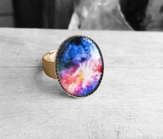 Handmade Resin Blue and Pink Colorful Nebula Ring by crystaland