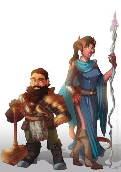 Commission Dwarf and Tiefling by Ioana-Muresan