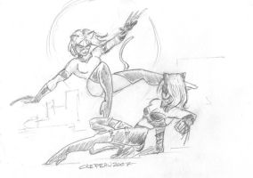 Daily Doodle14:Kat Fight by KidRaid