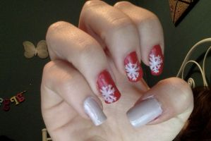 Snowflake Nails! by sabather