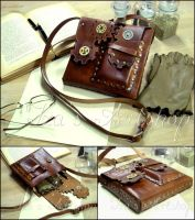 Steampunk Leather Pouch VII by izasartshop