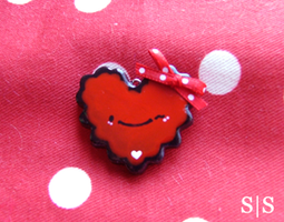 Red Wink Heart Charm by y2687