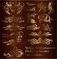 Vintage floral ornament photoshop brushes by Lyotta