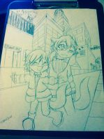 Exploring the town (WIP) by KiwiSharku