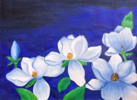 Blue Magnolias by purplebrush