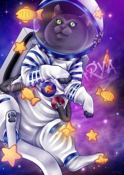Space Cat [+SPEED PAINT VIDEO] by Dark-Arya