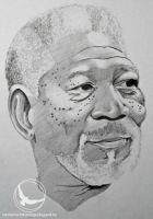 Morgan freeman portrait by Martin--Art