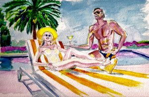 Lucy Punch. Hollywood Actress. Watercolour. by 80sdisco