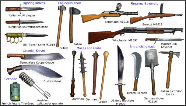 WW1 melee weapons by AndreaSilva60