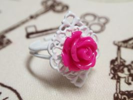 Ramntic pink rose ring by voodoogrl