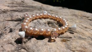 Pink Flower Pearl stretchy core bracelet by Rini-Dragoone