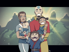 Not the Last Airbender: Aang and Katara's Family by FieryStampede