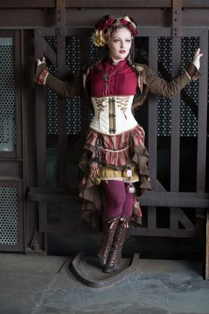 [STOCK] Steampunk Circus Girl in front of cage by AyraLeona