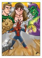 Spiderman and the bad boys by inkdropstudio