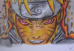 Naruto in nine tails mode by maniacrazor