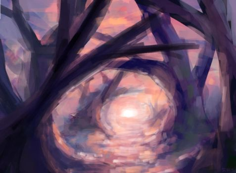 Color Study #7 - Sunset Purple Forest by ollieestuff