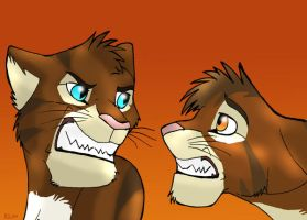 Brambleclaw and Hawkfrost by WindWo1f