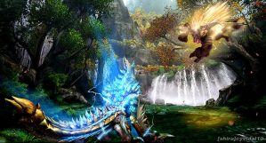 Monster Hunter - Jinouga vs Rajang by cyevidal10