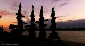 Stone balance art in the sunset by tamas kanya by tom-tom1969