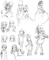 Bunch of Claires and some Layton scribbles by Gressenheller