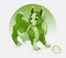 Green dog by Dawnamir