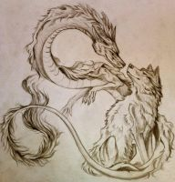 Dragon And Wolf by Liger-Izunami