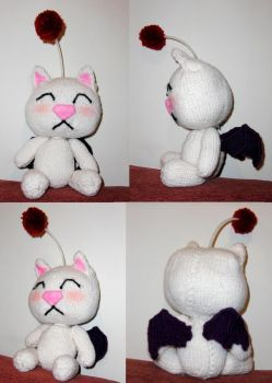 Knitted Moogle Plush by TheSerialKnitter