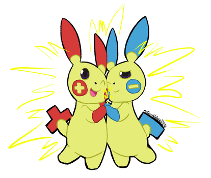 Plusle and Minun by MrTwinklehead