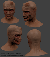 Zombie head low-poly by Benderxable