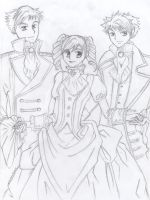 Haruhi and the Hitachiin Twins by shayleigh