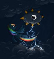 Rainbow Dash vs Kracko by Bakuel
