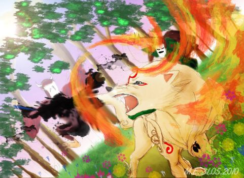 Fighting Okami by Mohibi