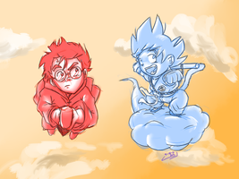 Goku and Harry Potter by wtfisalinh