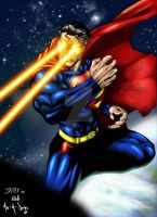 Superman over the Earth by 00AceOfSpades00
