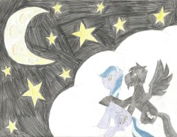 Commission: Moonmelody and Midnight by friesianloverl2K