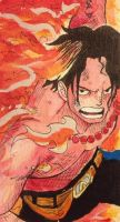 Portgas D. Ace Watercolor Bookmark by 321comics