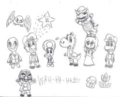 Chibi Mario Characters by uhnevermind