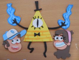Bill Cipher Mabel and Dipper by Suemoons