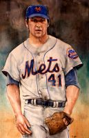 Tom Seaver New York Mets Watercolor by MichaelPattison